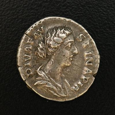 Ancient Roman Imperial AR Denarius of Faustina II, ca. 147 A.D.