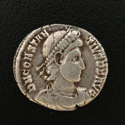 Ancient Roman Imperial AR Siliqua Coin of Constantius II, ca. 340 A.D.