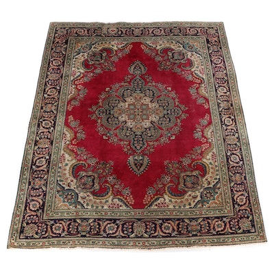 8'2 x 10'9 Hand-Knotted Persian Kerman Wool Area Rug