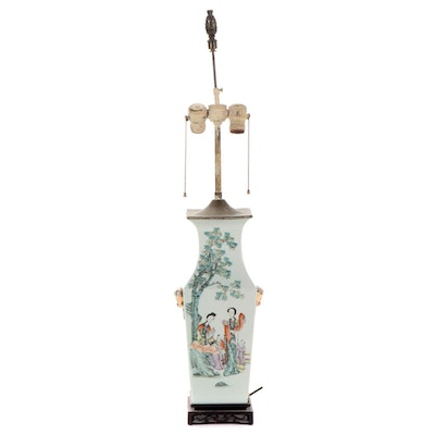 Converted Antique Chinese Poetry Vase Lamp, Mid-20th Century