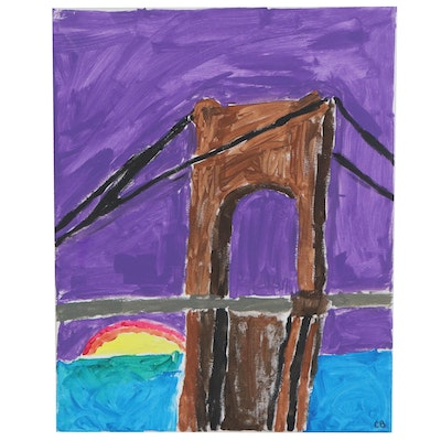 Cole (Age 11) Suspension Bridge and Sunset Acrylic Painting