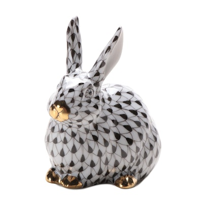 """Herend Black Fishnet with Gold """"Chubby Bunny"""" Porcelain Figurine, 2006"""
