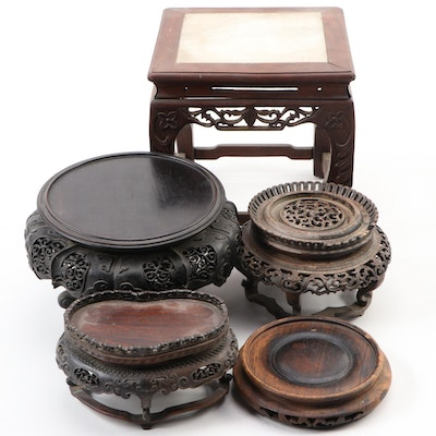 Five Chinese Carved Hardwood Stands