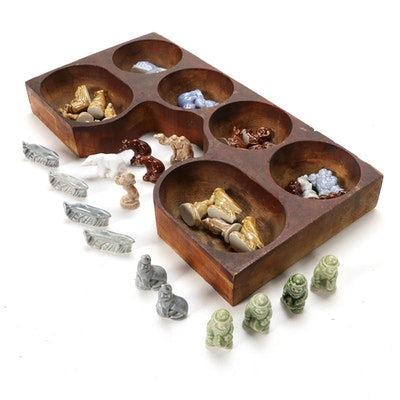 Wade Whimsies Miniature Figurines with Wooden Change Drawer