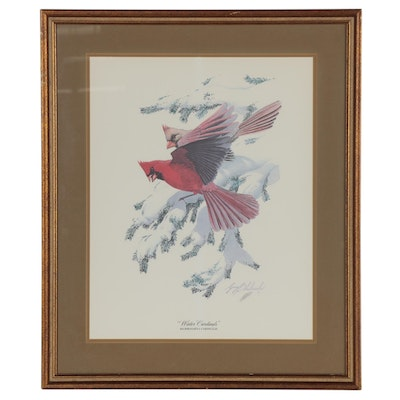 "Guy Coheleach Offset Lithograph ""Winter Cardinals,"" Late 20th Century"