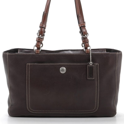 Coach Chelsea Shoulder Bag in Brown Grained Leather with Contrast Stitching
