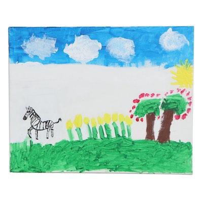 Cohen (Age 8) Landscape with Zebra Acrylic Painting
