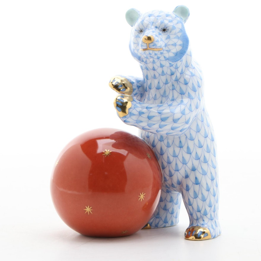 "Herend Blue Fishnet ""Bear with Ball"" Porcelain Figurine"