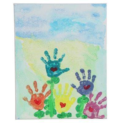 Ryan (Age 5) Handprint Flowers Acrylic Painting