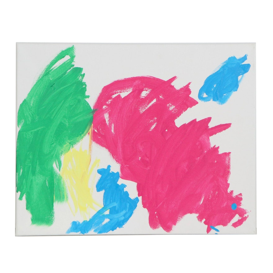 Charlie (Age 3) Colorful Abstract Acrylic Painting