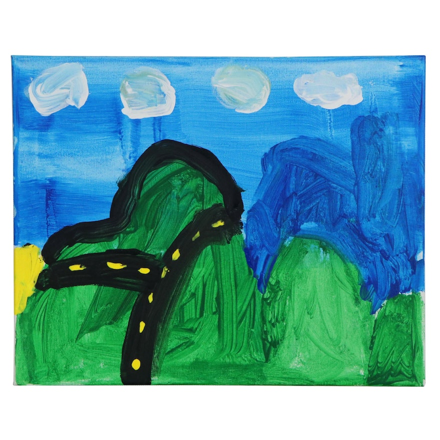 Dylan (Age 7) Mountain Road Acrylic Painting