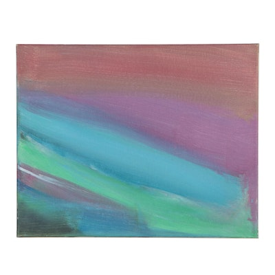 Bizzy (Age 8) Rainbow Colorfield Acrylic Painting