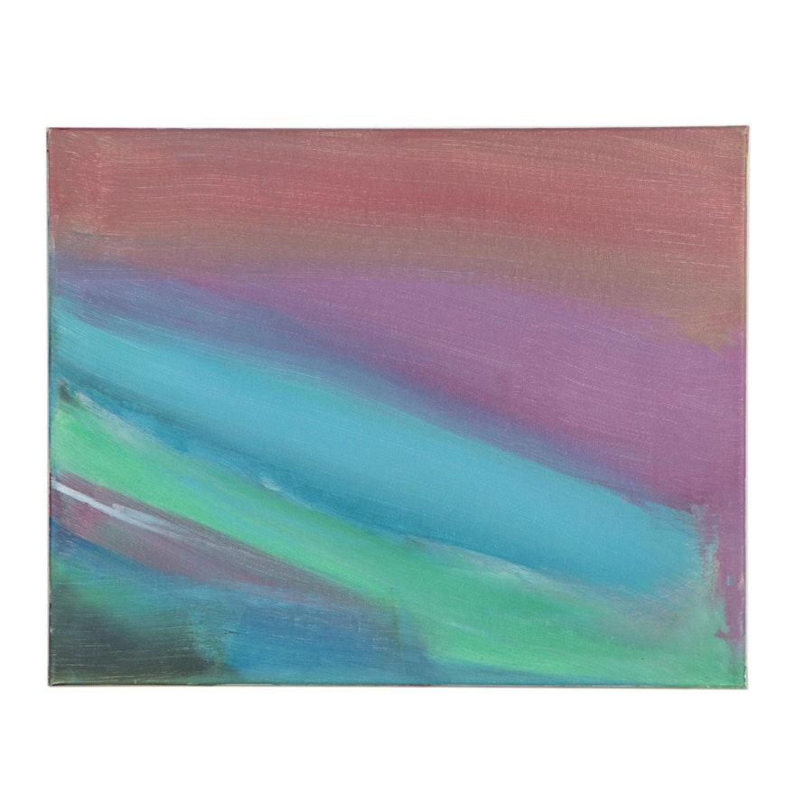 Bizzy (Age 8) Rainbow Colorfield Acrylic Painting