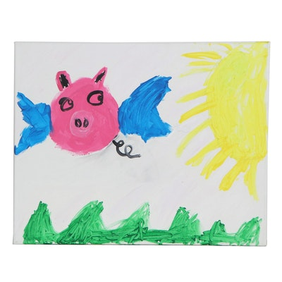 Sammi (Age 6) Flying Pig Acrylic Painting