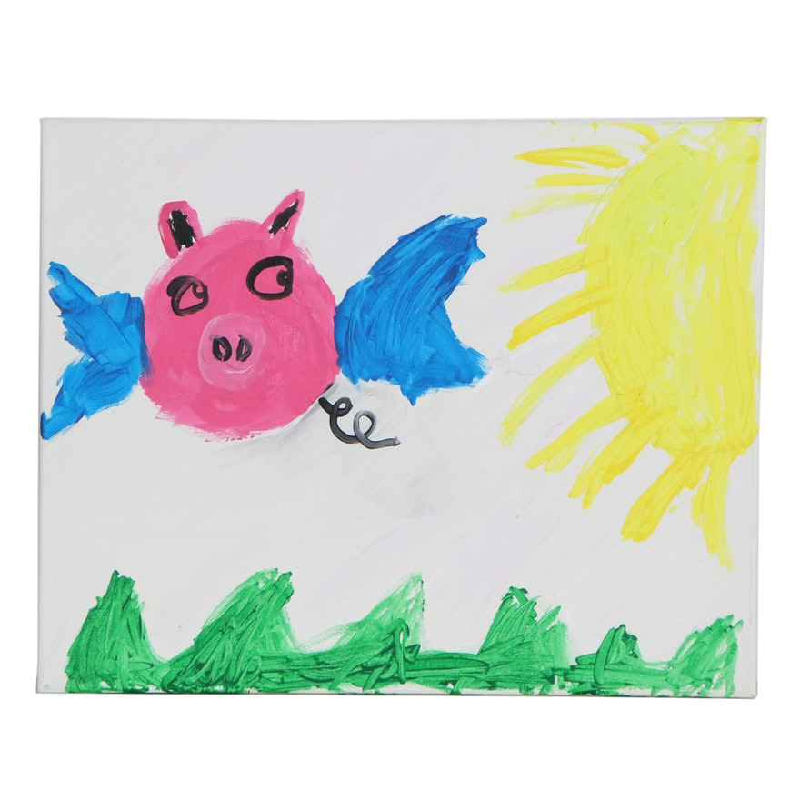 Sammi (Age 6) Flying Pig Acrylic Painting