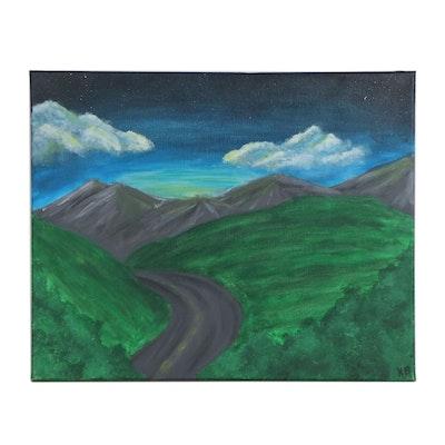 Kayla (Age 16) Mountain Landscape Acrylic Painting