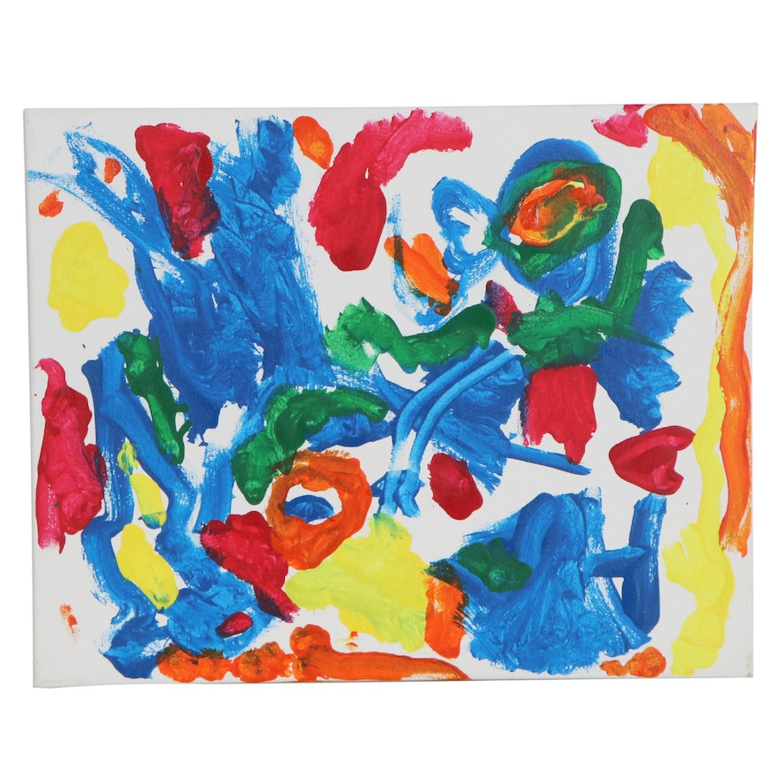 A.J. (Age 3) Colorful Abstract Acrylic Painting