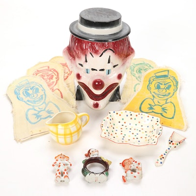 Brush McCoy Clown Head Cookie Jar and Figurines with Carnival Game Pieces