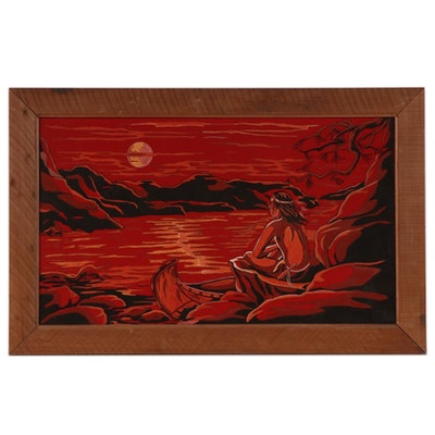 Gouache Painting of Native American Watching Sunset