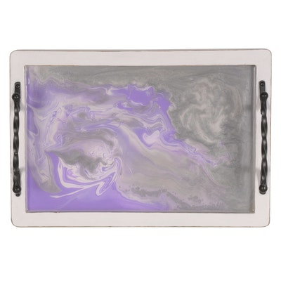 Blake (Age 10) Distressed Wood Serving Tray with Swirled Resin Center