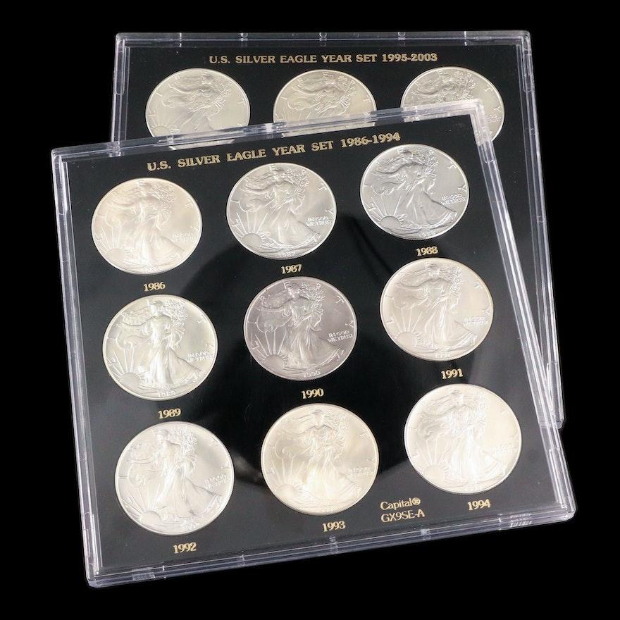 Twelve U.S. Silver Eagle Bullion Dollar Coins Including Key Dates