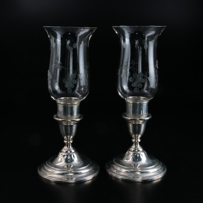 """International Silver """"Lord Saybrook"""" Sterling Silver Candlestick with Hurricanes"""