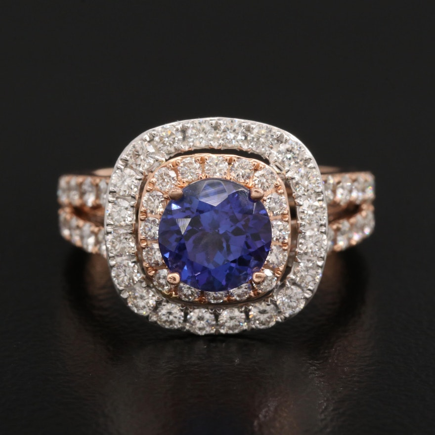 14K Rose Gold Tanzanite and 1.46 CTW Diamond Ring
