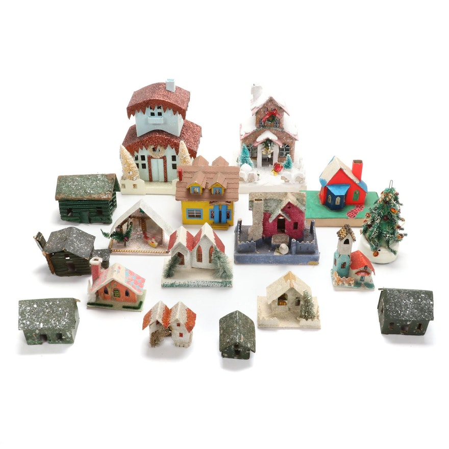 Japanese Putz Mica Glitter Houses and More, Vintage