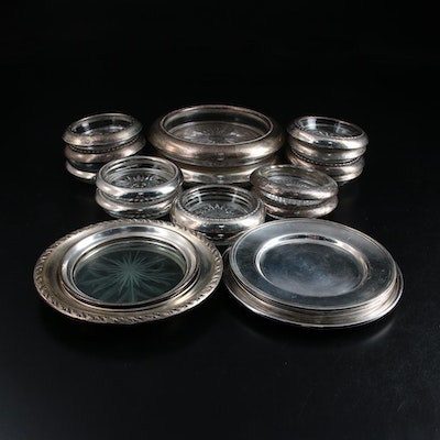 Sterling Silver and Etched Glass Coasters and Sterling Silver Plates