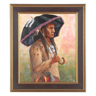 Samson Crew Oil Painting of Native American Man with Umbrella, 2004
