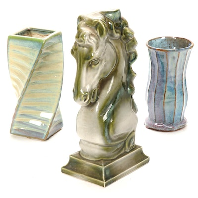 Art Pottery Vases and Horse Head Decorative Accent, Late 20th to 21st Century