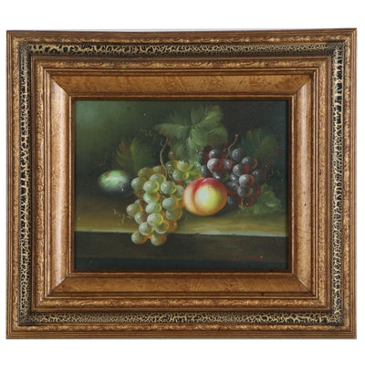Still Life Oil Painting with Fruit, Late 20th Century