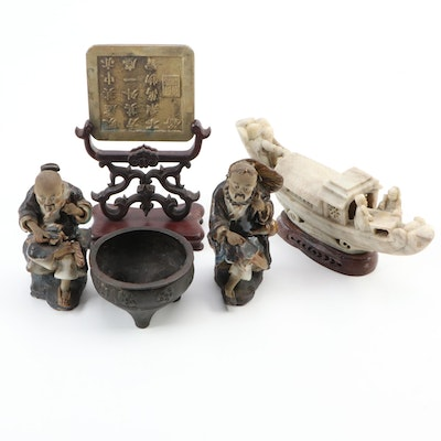 Chinese Bronze Censer, Soapstone Boat, Ceramic Figures, Brass Plaque on Stand