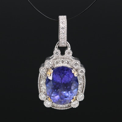 14K 3.21 CT Tanzanite and Diamond Halo Pendant