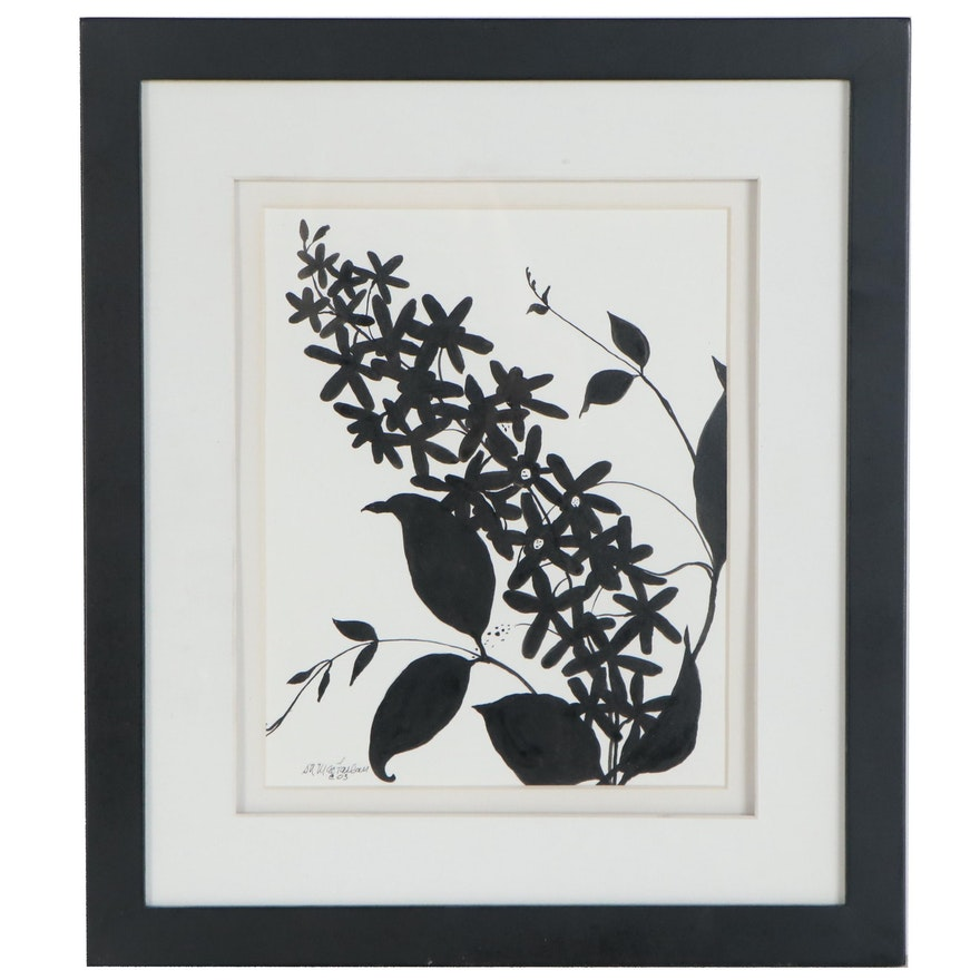 Susan Mac Farlan Silhouette Marker Drawing of Flowers, 2003