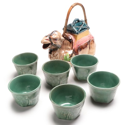Japanese Ceramic Camel Tea Pot with Celadon Tea Cups, Mid-20th C