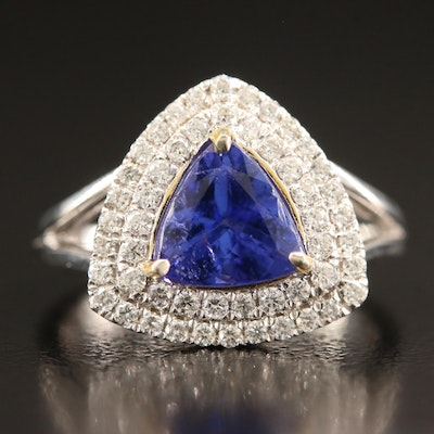 14K 2.01 CT Tanzanite and Diamond Double Row Triangular Ring