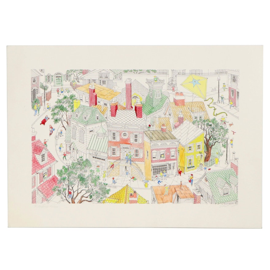 "Hand-Colored Lithograph of Neighborhood Scene ""Kite Line"""