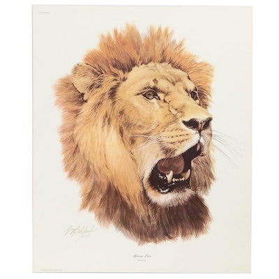 "Guy Coheleach Offset Lithograph ""African Lion,"" 1971"