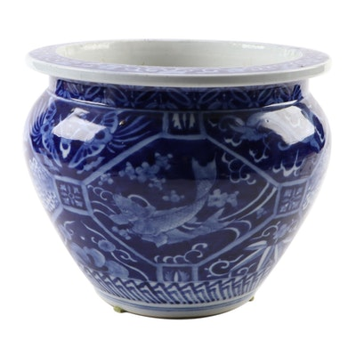 Japanese Blue and White Ceramic Crane and Koi Jardinière, 20th Century
