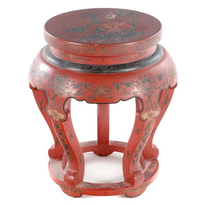 Chinese Red and Polychrome-Lacquer Stand