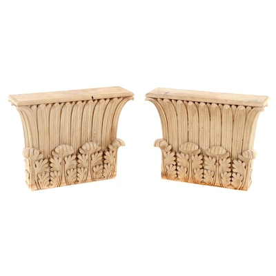 Pair of Carved Pine Wood Corinthian Flat Back Capitals, Antique