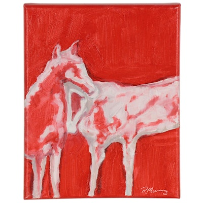 "Rebecca Manns Oil Painting ""Paint Horse Under Red,"" 2020"