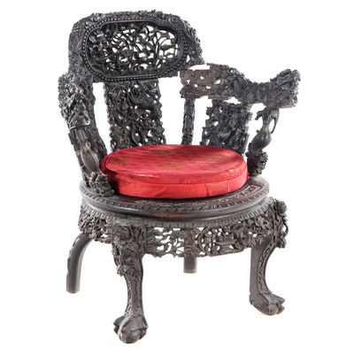 Chinese Carved Hong-Mu Armchair