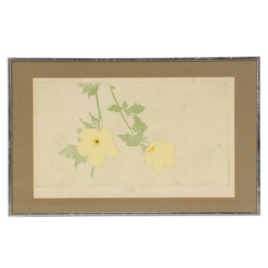 Mixed Media Lithograph and Serigraph Print of Yellow Flowers, 1955