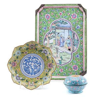 Chinese Enamelware Tray, Petal-Shaped Plate and Lidded Box