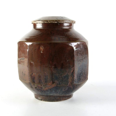 Korean Decagonal Shaped Pottery Jar and Cover