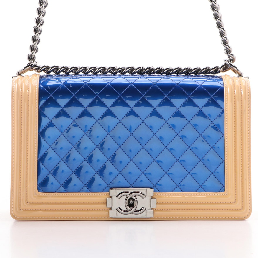 Chanel Boy Bag Medium in Metallic Blue and Beige Patent Leather