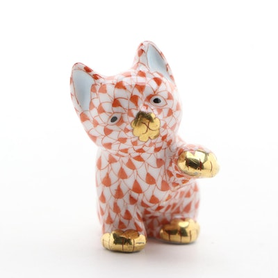 "Herend Rust Fishnet with Gold ""Small Cat"" Porcelain Figurine, May 1998"