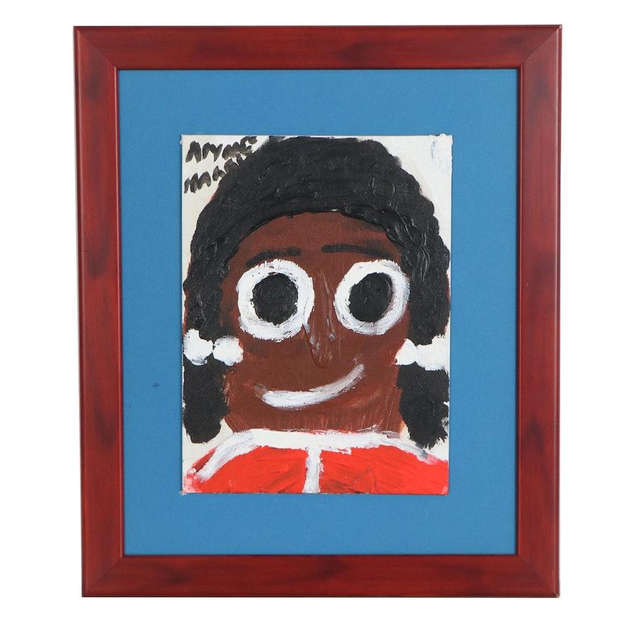 Alyne Harris Folk Art Acrylic Painting of Girl, 21st Century